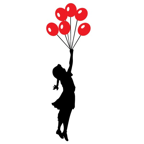 Wall sticker balloons girl Banksy WLBS07