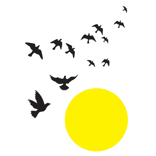 Sticker sunset with birds WLP105