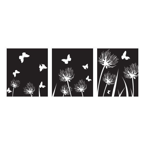 Sticker banner flori si fluturi WLB024
