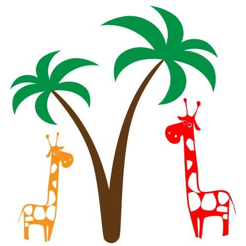 Sticker palmier cu girafe WCA814
