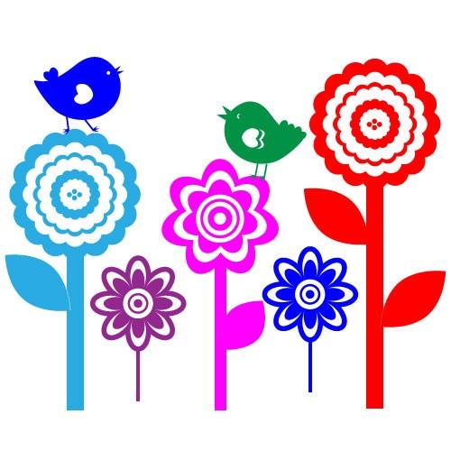 Sticker floricele cu pasari WCA821