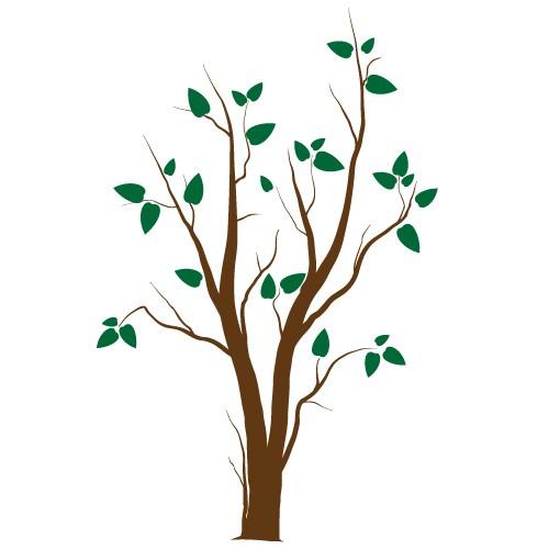sticker de perete copac cu frunze