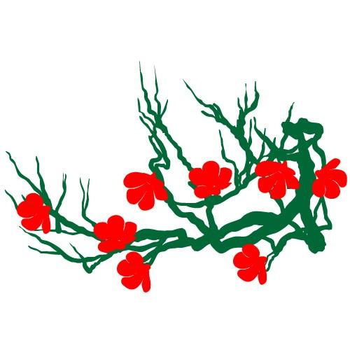 stickere decorative creanga cu flori