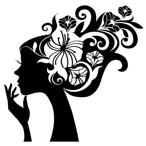 autocolant de perete decorativ fata cu flori in par
