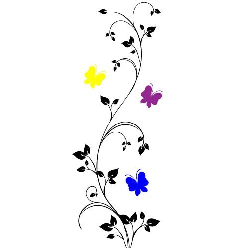 sticker de perete floare cu fluturi
