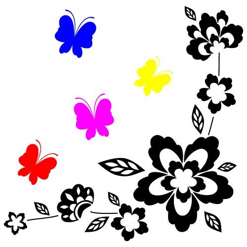 autocolante de perete floare cu fluturi