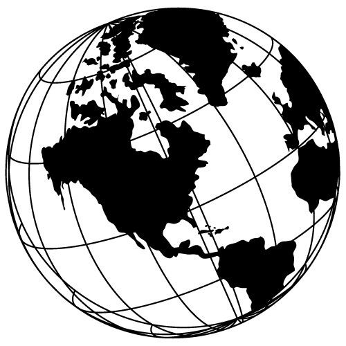 Vintage Globe Line Drawing : Wall sticker glob pamantesc wll
