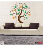 autocolante de perete copac cu frunze colorate