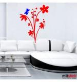 autocolant de perete floare cu fluture