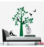 Sticker copac cu pisica si colivie WLC129