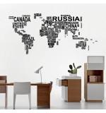 Sticker harta lumii din cuvinte WLL136