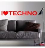 autocolant de perete i love techno