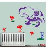 Sticker pisica in copac cu ciupercute WCA836