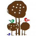 Sticker copac cu pasari WCA802