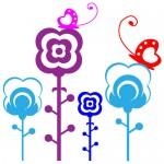 Sticker flori cu fluturasi WCA819