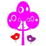 Sticker copac cu pasari WCA826