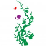 Sticker floare cu fluturasi WLF226
