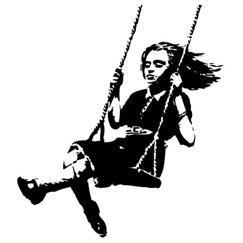 Sticker girl on swing Banksy WLBS04