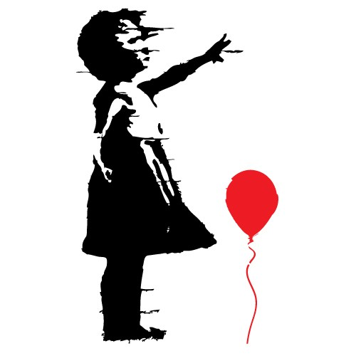 Sticker girl with balloon Banksy WLBS06