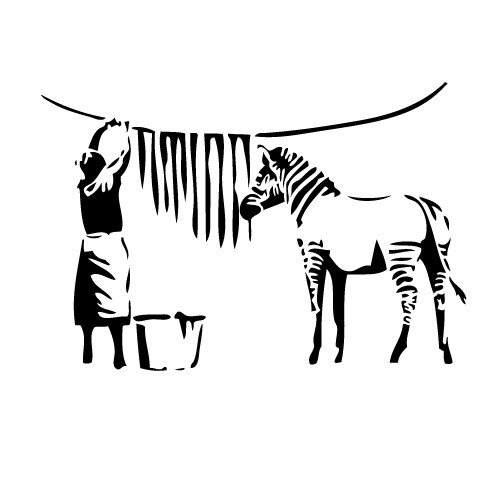 Sticker banksy zebra WLBS14