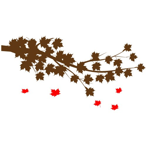 sticker de perete creanga cu frunze