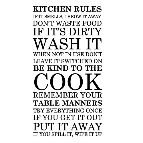 Sticker bucatarie Kitchen rules WLT239