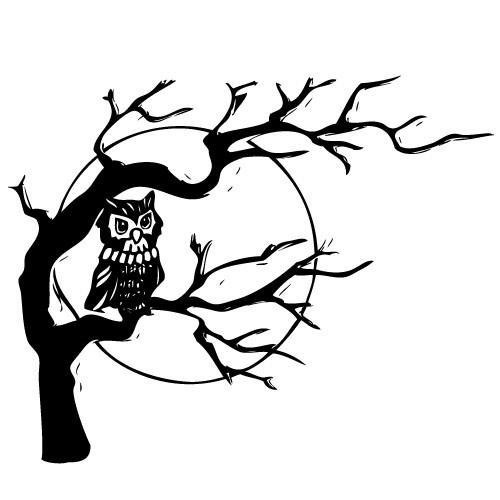 Autocolant bufnita in copac WLCR52