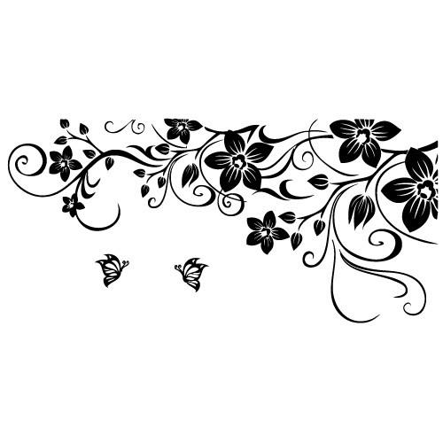 Sticker floare pe colt WLF536