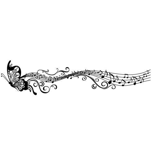 Sticker fluture muzical  WLM028
