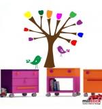 Sticker copac multicolor cu pasari WCA803