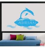 Sticker nume copil delfin WCNC07