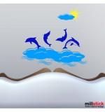 Sticker delfini in mare WCAV32