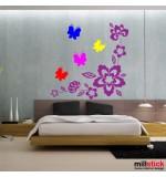 stickere decorative floare cu fluturi