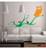 sticker decorativ de perete bufnita pe creanga