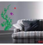 autocolant decorativ floare cu fluturasi