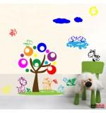 autocolant decorativ copac colorat cu animale