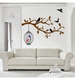 autocolante decorative de perete creanga cu pasare si colivie