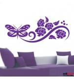 Sticker floare cu fluture WLF146