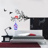 stickere decorative de perete colivie cu pasari pe creanga