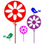 Sticker floricele cu pasari WCA812