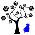 Sticker copac cu pasare WLC310