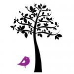 Sticker copac cu pasare WLC319