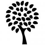 Sticker copac rotund cu frunze WLC321
