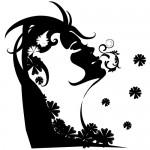 Sticker fata cu flori WLD001