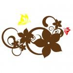 Sticker floare cu fluturi WLF123