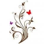 Sticker floare cu fluture WLF318