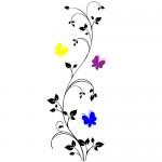 Sticker floare cu fluturi WLF321