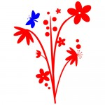 Sticker floare cu fluture WLF416