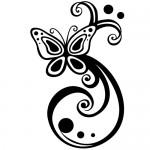 Sticker fluture floare WLF513