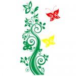 Sticker floare cu fluturi WLF525